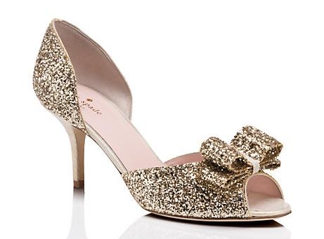 Sela wedding heels in gold glitter; Photo by Kate Spade New York
