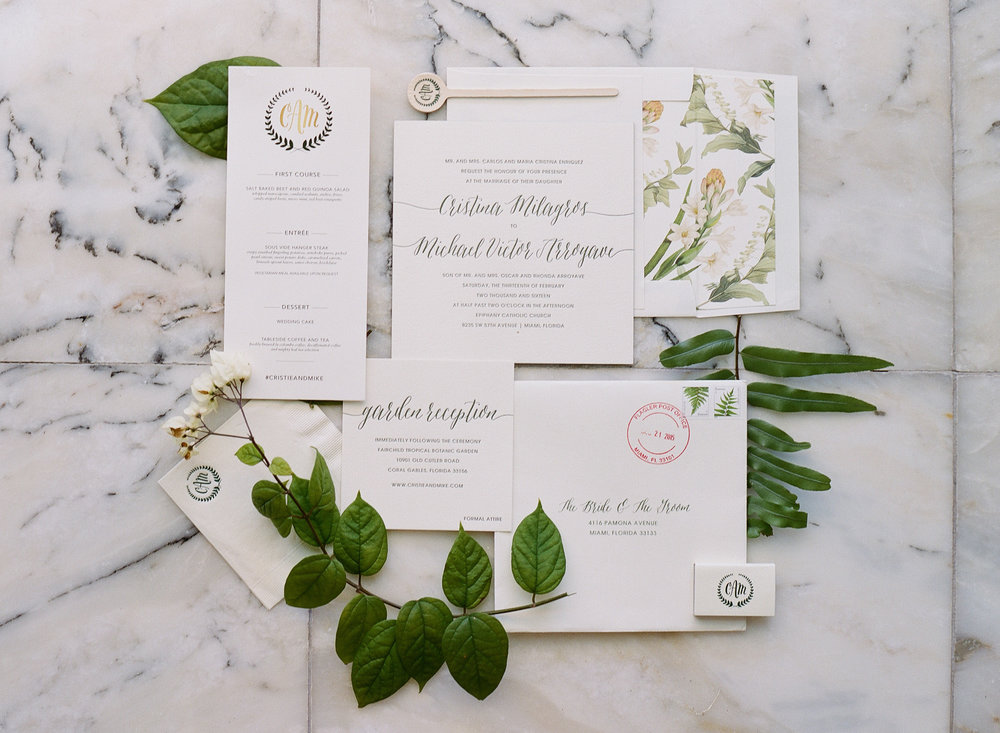Tropical Letterpress Wedding Invitation Suite