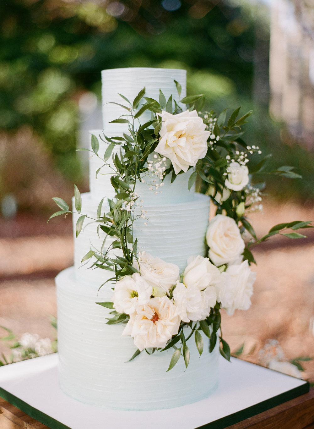 Blue Wedding Cake with Real Flower