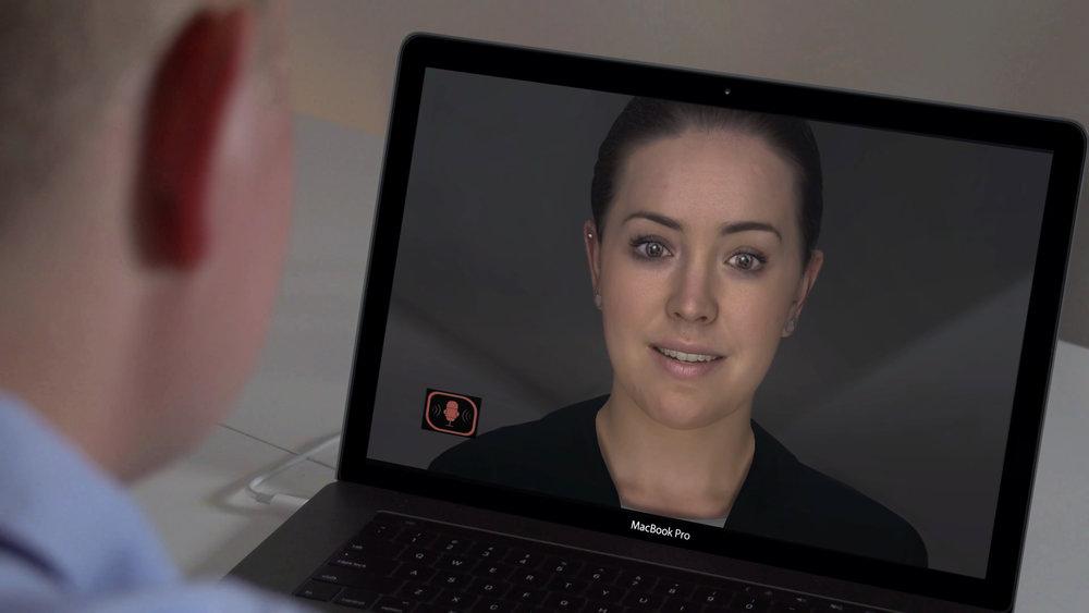 Daimler Financial's Sarah can react to spoken and typed words as well as non-verbal queues. Photo: Daimler AG
