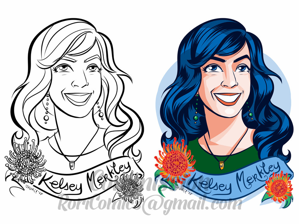 Portrait Commission with Coloring Page