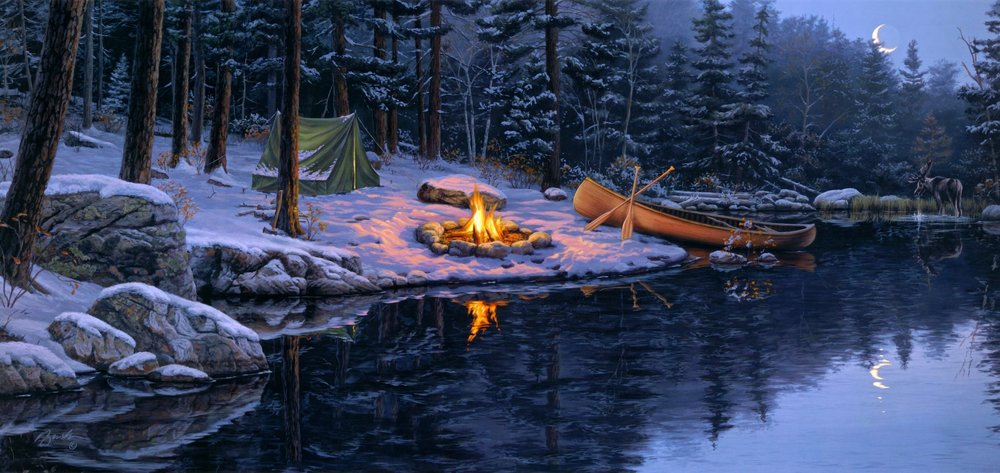 darrell-bush-back-in-the-pines-painting-forest-spruce-pine-tent-fire-lake-boat-moose-moon-snow-late-autumn-winter.jpg