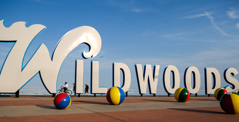 The Wildwoods sign on the boardwalk in Wildwoods, New Jersey—host to The Race of Gentlemen.