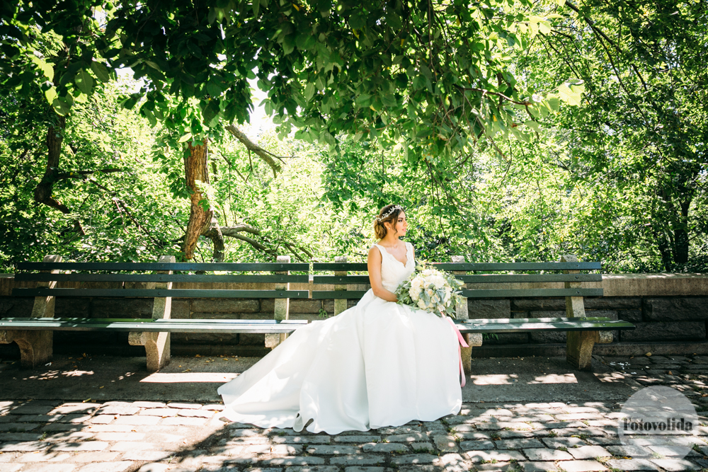 Waiting for her groom on a Central Park bench