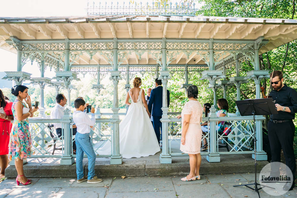 An intimate wedding ceremony at the Ladies Pavilion in Central Park