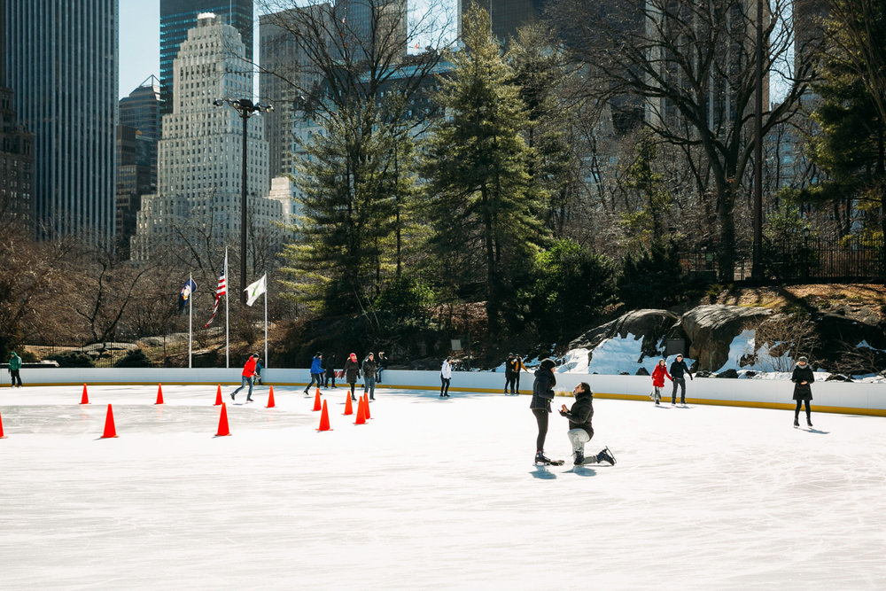 proposal at Wollman Ice skating rink at Central Park