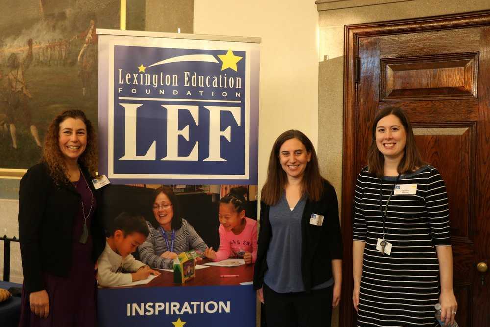 Photo of LEF board members Raquel Leder and Jessica Brett and Coordinator of Professional Learning and Special Projects at LPS courtesy of LHS student Sophia Sullivan.