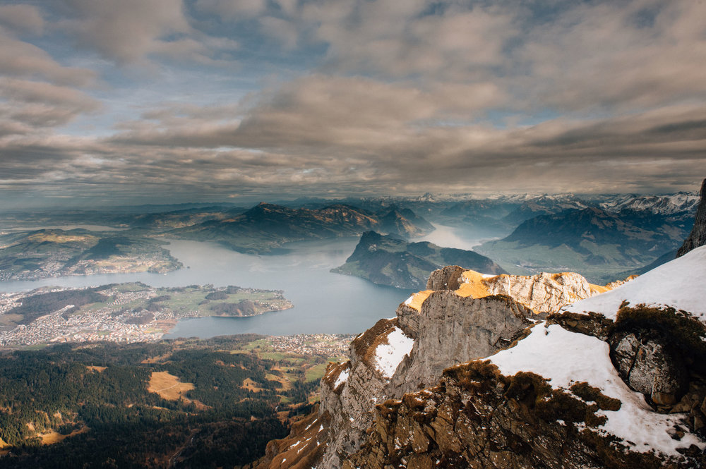 Pilatus, a place steeped in legend and lore, called the dragon's lair and home to giants and grave of rulers. A dragon rock supposedly fell from the sky in the year 1420. The mountain offers a panoramic view of 73 alpine peaks.