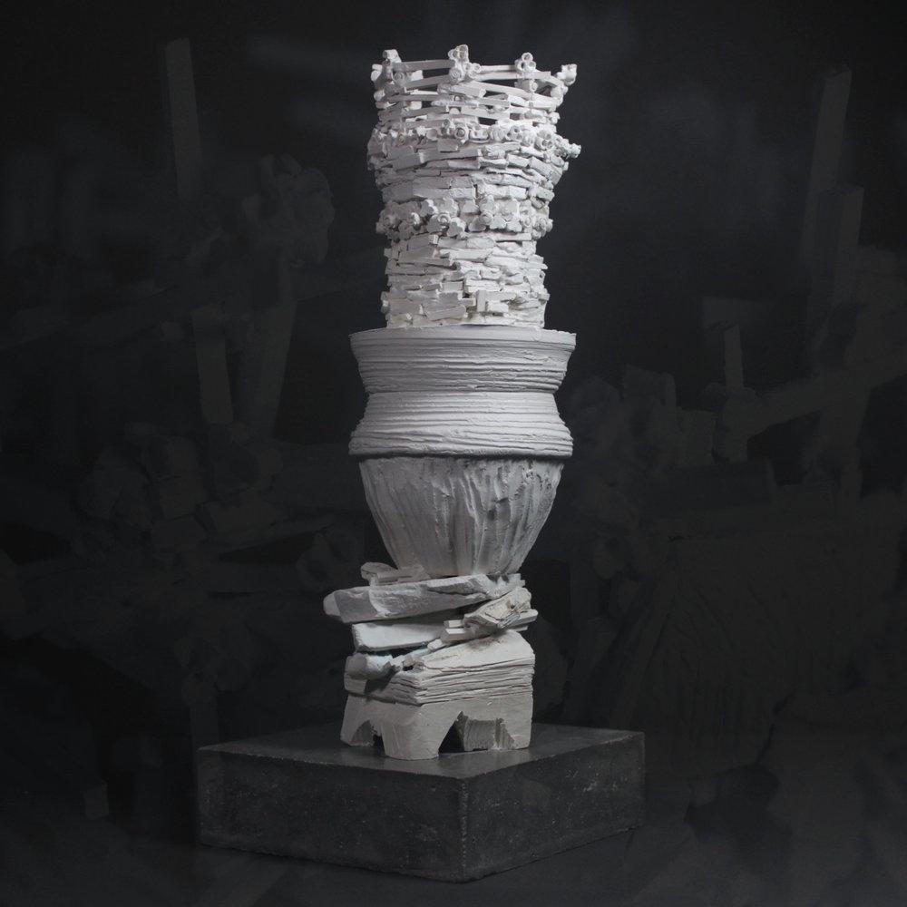 "Daisun Kofun , 10x8x8"", porcelain clay, celadon and luster glazes. 2017"