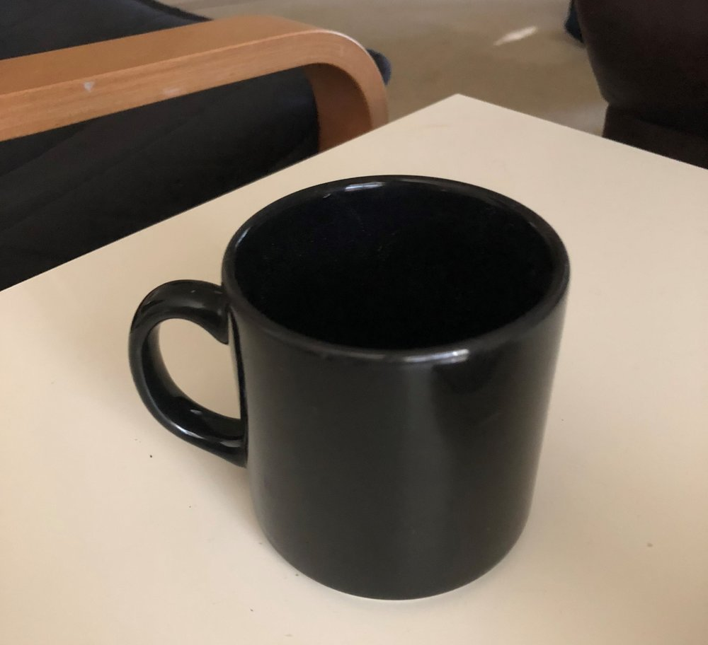 My favorite, and now only, coffee cup. The joy of one.