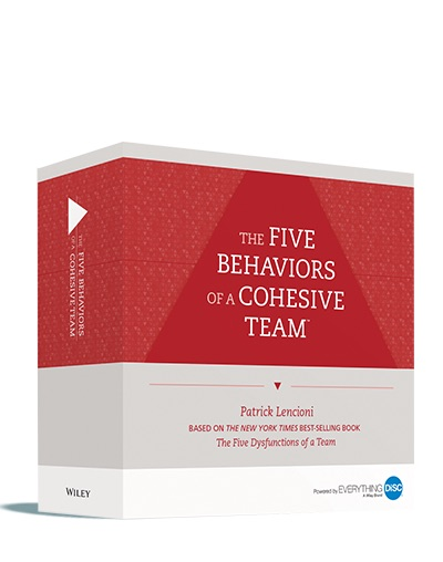 The Five Behaviors™ Powered by Everything DiSC® Product Images   3D illustration of product box, Profile cover, Progress Report cover, and Take-Away Cards, available in JPG and PNG.