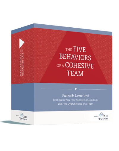 The Five Behaviors™ Powered by All Types™ Product Images   3D illustration of product box, Profile cover, Progress Report cover, and Take-Away Cards, available in PNG.