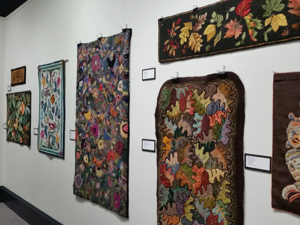 Modern hooked rugs, as part of the exhibit  Then and Now, Rug Hooking in Canada.