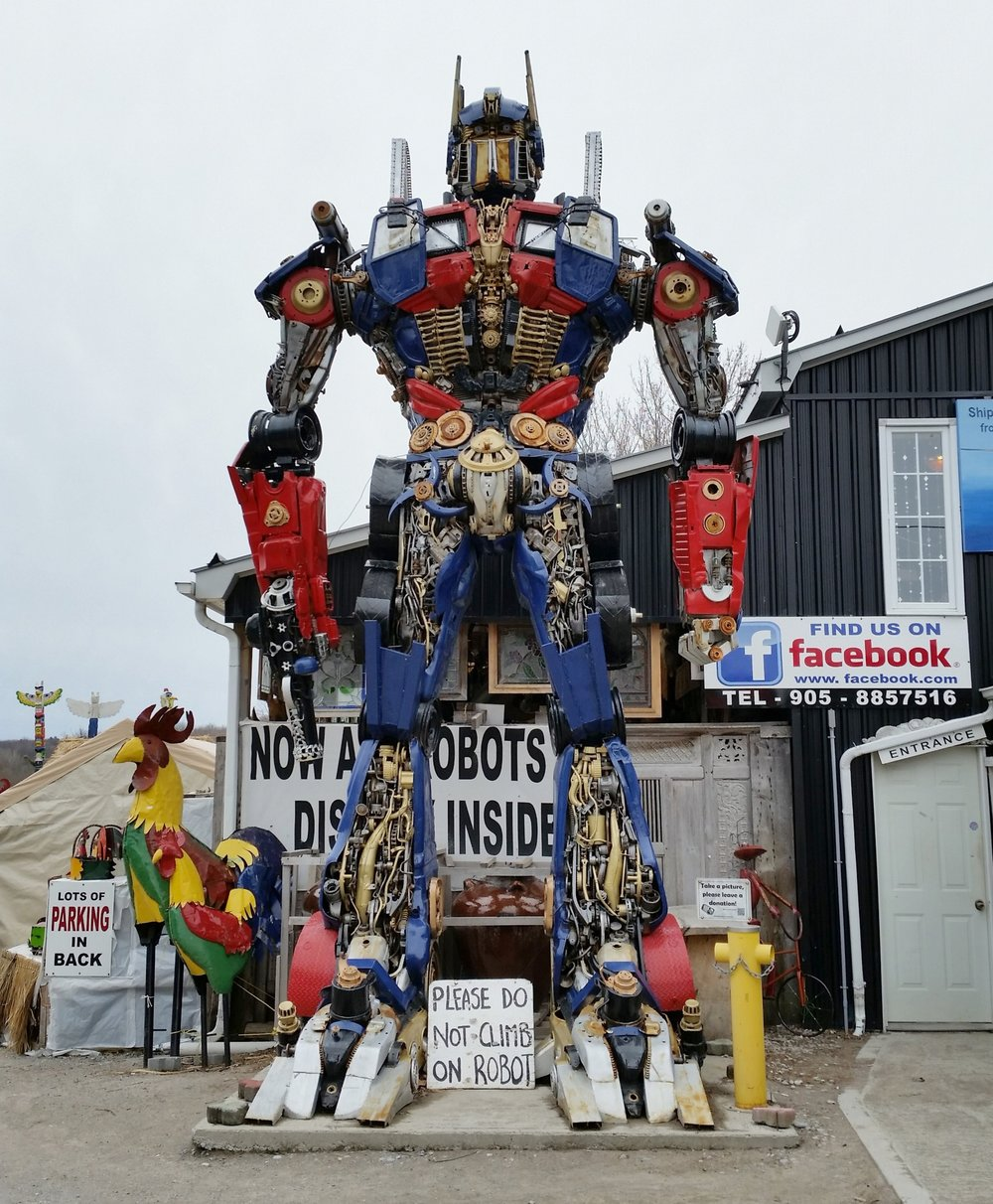 The 26 foot tall robot in the parking lot.