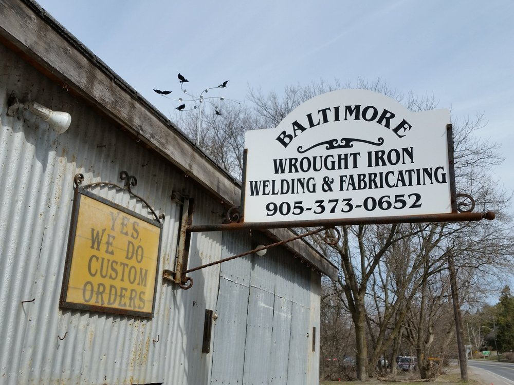 Baltimore Wrought Iron Welding and Fabricating, north of Cobourg in Baltimore, Ontario.