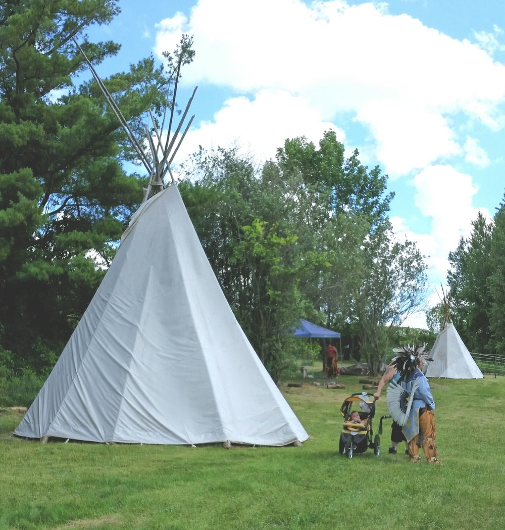 Teepees at the Alderville First Nation Pow Wow grounds.