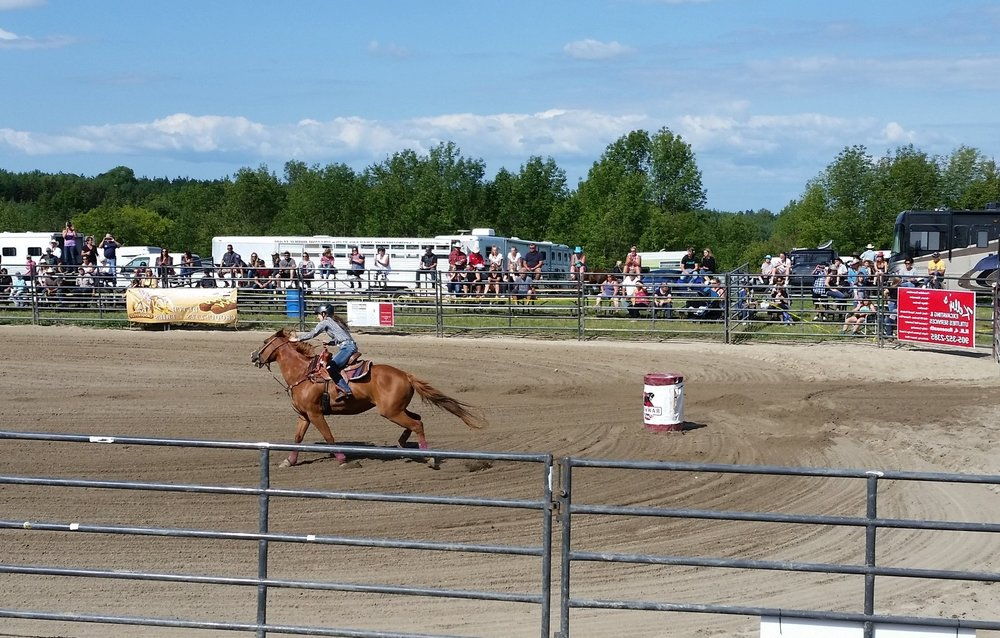 The barrel racing event.