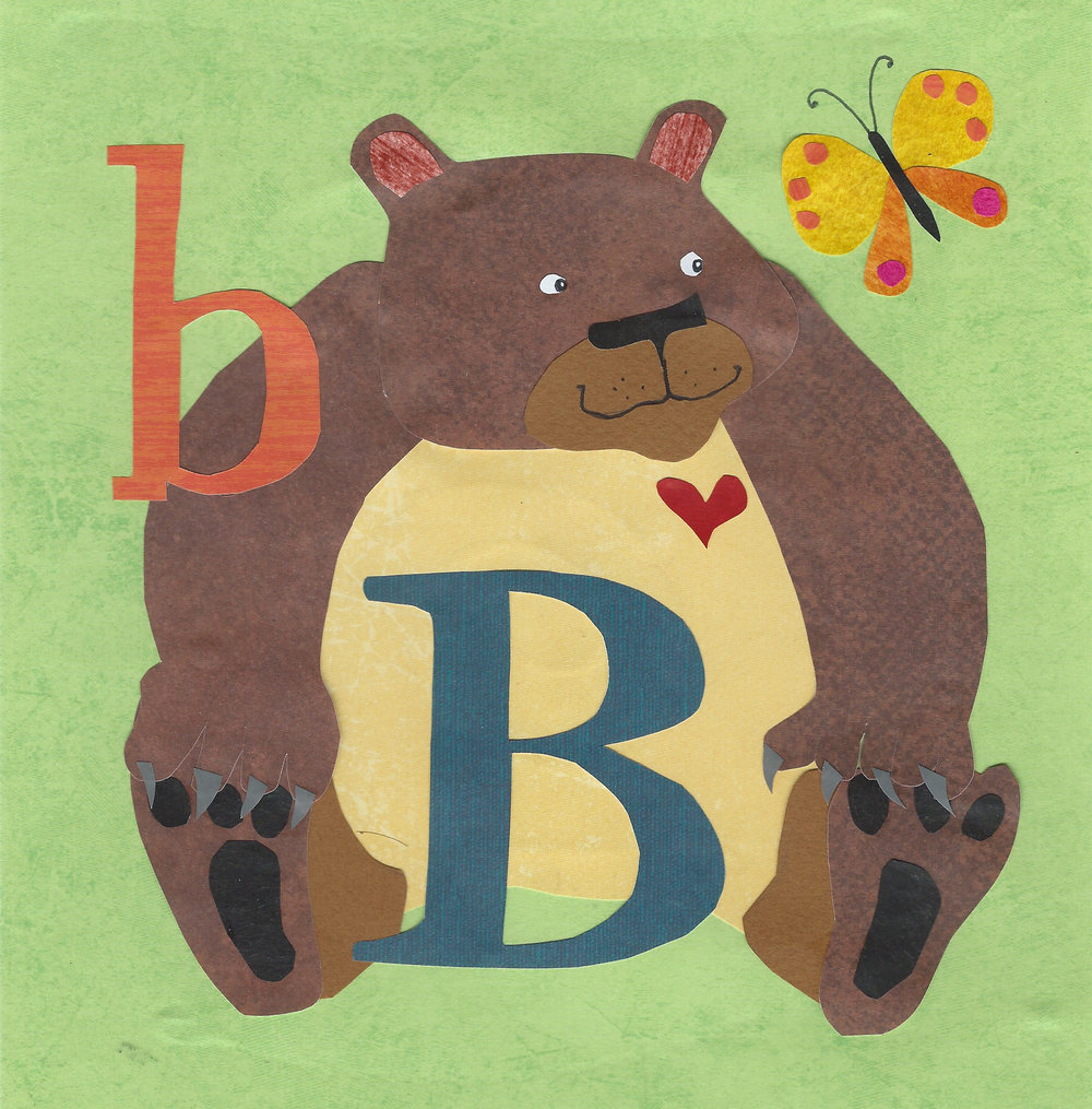 B is for Bear and Butterfly.  Cut paper 8x8