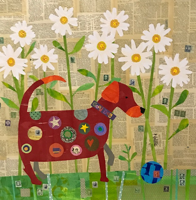Red Dog   30 x 30Collage
