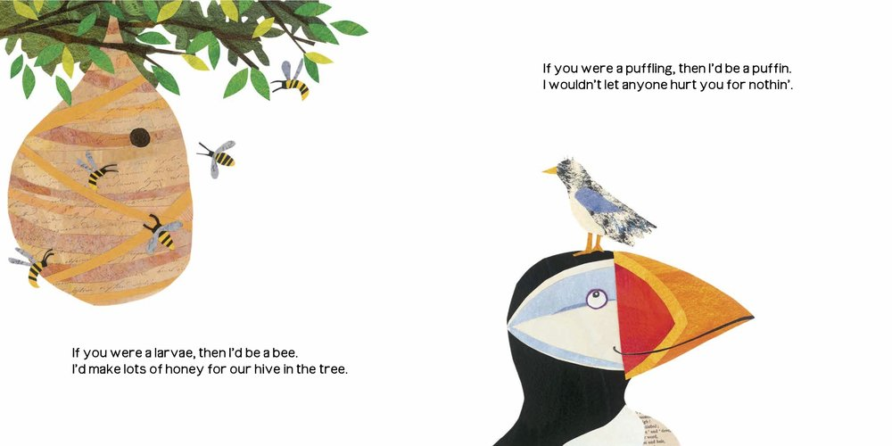 Here is a look inside the book.  I love the puffin.