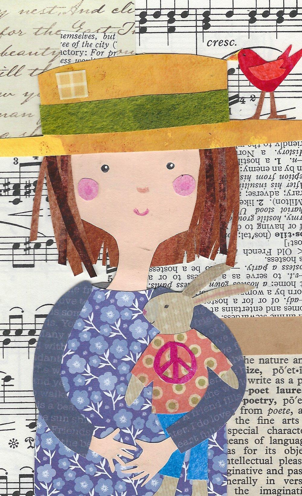 """Peace Rabbit""  4x6  Cut Paper"