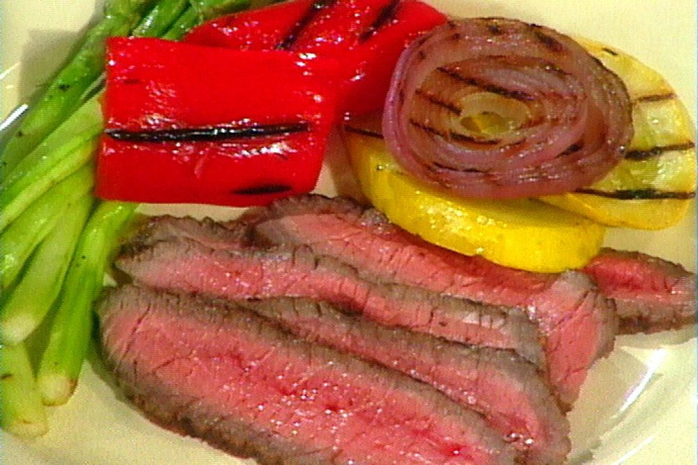 London Broil with Dijon-Herb Butter   http://www.foodnetwork.com/recipes/food-network-kitchen/london-broil-with-herb-butter-recipe