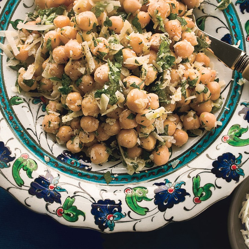 Chick-Pea Salad   http://www.epicurious.com/recipes/food/views/chickpea-salad-with-lemon-parmesan-and-fresh-herbs-364611