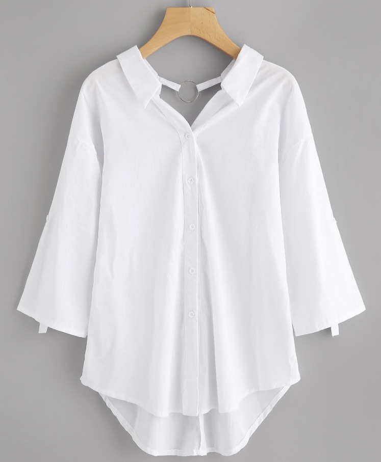 Find this Drop Shoulder O-Ring Dipped Hem Shirt  here .