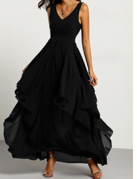 Find this Deep V Neck Chiffon Dress  here .