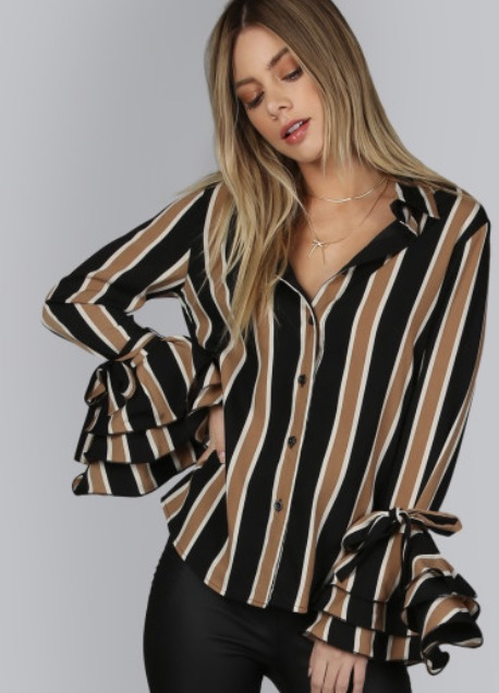 Find this Shein Striped Shirt With Tiered Flute Sleeves  here .