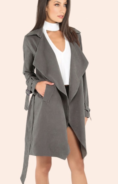 Find this Suede Grey Belted Trench Coat  here .