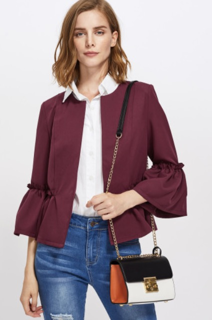 Find the Frilled Bell Sleeve and Hem Open Front Blazer  here .