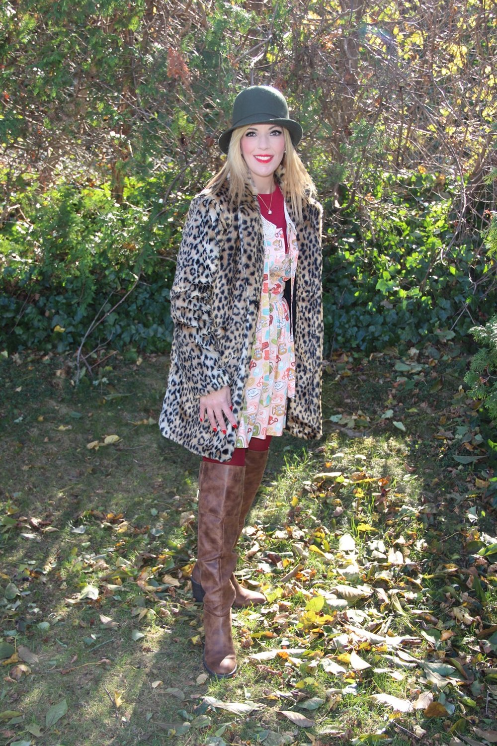 My faux fur leopard coat just hit the stores as part of the A New Day collection at Target and you can find it  here .