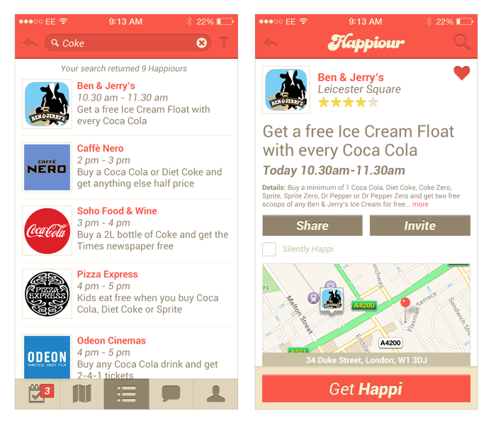 The original version of the Happiour app before I took over responsibility for the design.