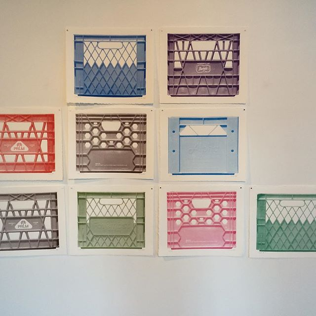 Snapped a pic of Pascale Ouellet's pieces at @medalta today... Industrialization of food production.....? Silk screen prints of plastic food storage containers