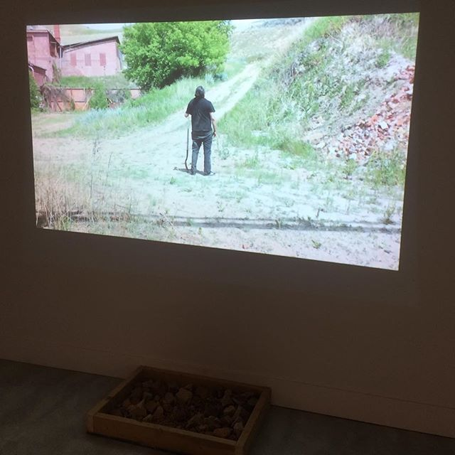 Artist Terrance Houle looking out at the prairie after burying fragments of shattered bricks in the ground, a beautiful metaphor of returning the colonial brick to its original form.  Don't forget, Ghost Days will screen on the 4th floor of @cspacekingedward until Ocotober 1st.
