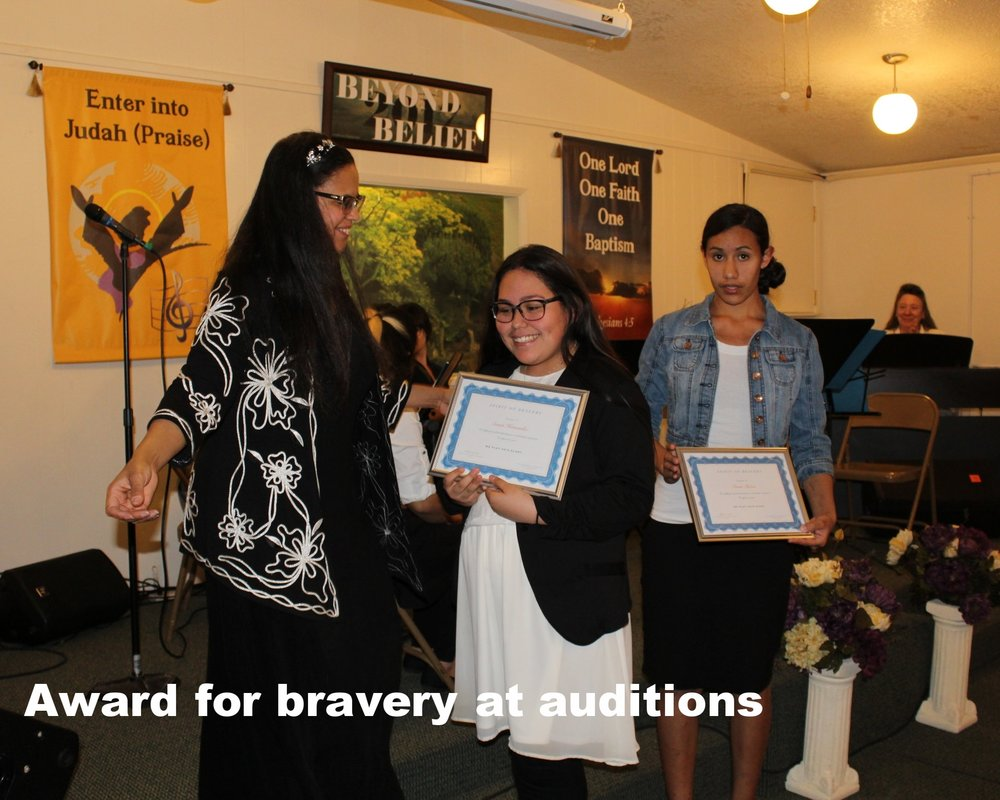Award for bravery at auditions.