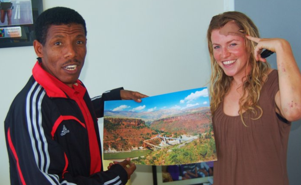 Meeting haile gebrselassie whilst cycling to the South Africa World Cup
