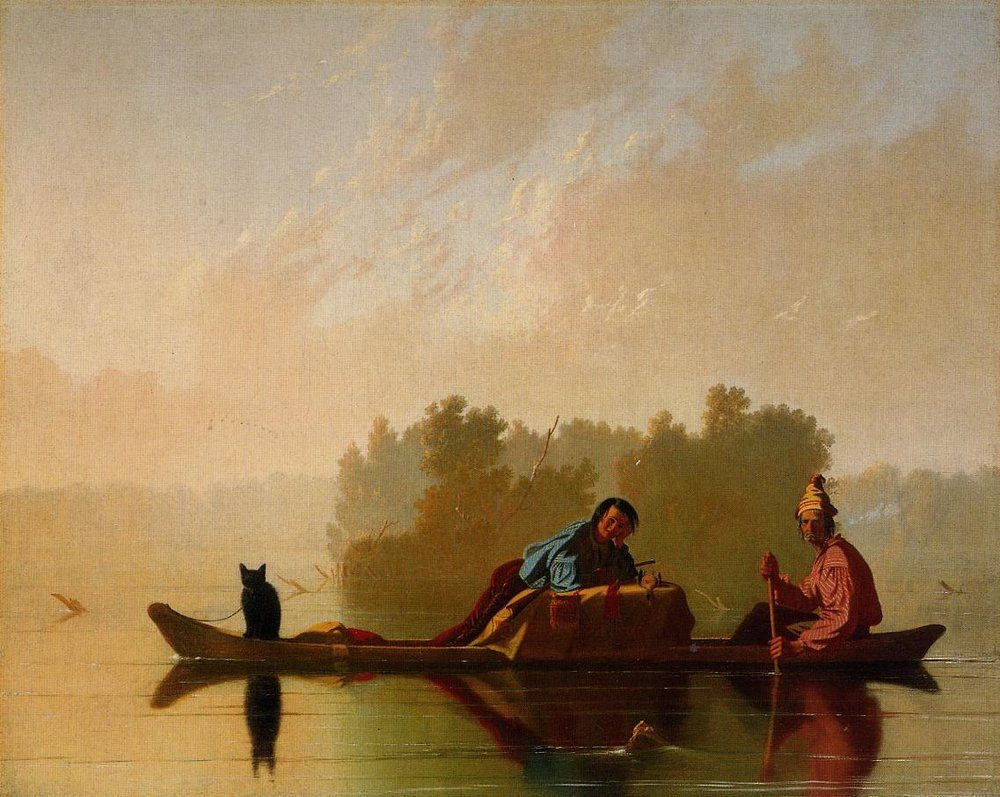 George Caleb Bingham (American, 1811-1979) Fur Traders Descending the Missouri, 1845 (Metropolitan Museum of Art, New York, NY) (Morris K. Jesup Fund, 1933, 33.61) (click to enlarge)