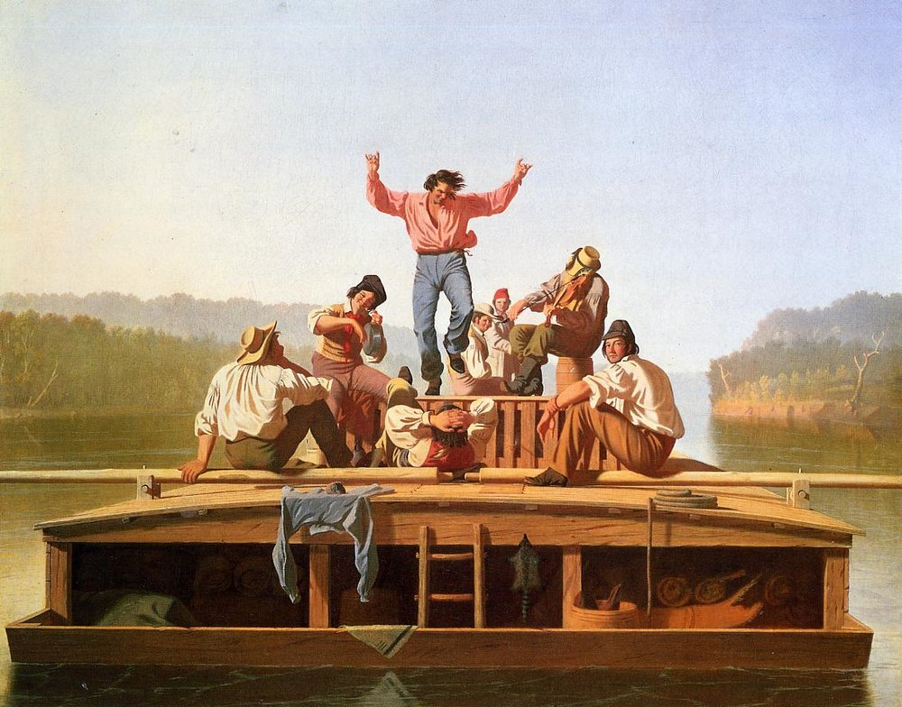 George Caleb Bingham (American, 1811-1979) The Jolly Flatboatmen, 1846 (Private Collection) (click to enlarge)