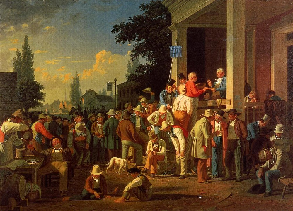 George Caleb Bingham (American, 1811-1879) The County Election (no.2), 1852 (Private Collection) (click to enlarge)