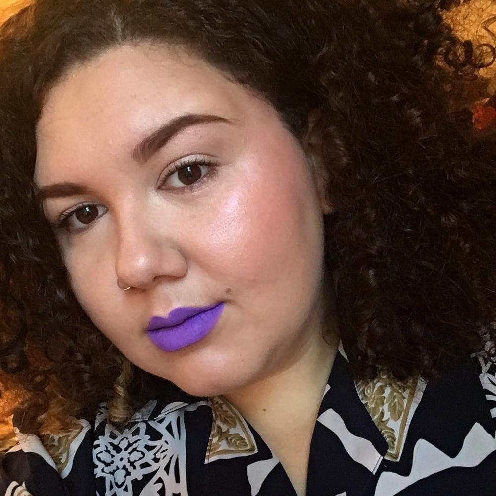 Headblush makeup artist Sofaya Hussein wearing Blow Pony liquid lipstick