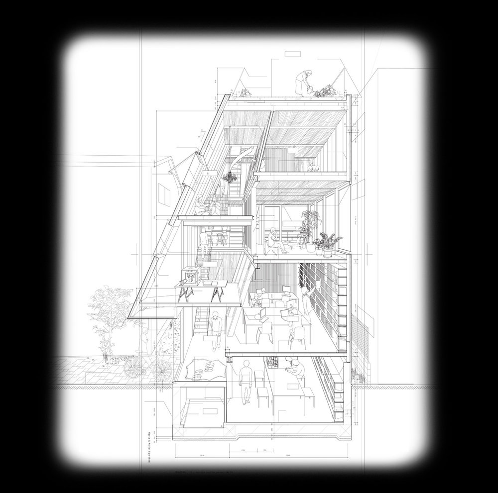 Section perspective drawing by  Atelier Bow-Wow