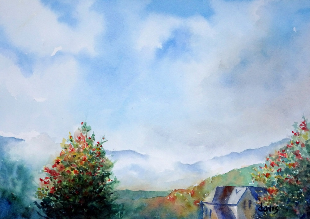 The Red House, Fine Art, Black Mountain, Donna Davis, Watercolor-002.JPG