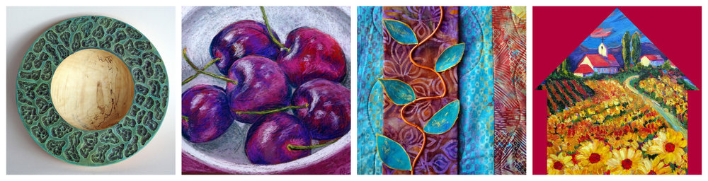 Details from the artwork of: STEVE MILLER, ALISON CURTIN, MARY JANE PETERSEN and SUSAN HANNING