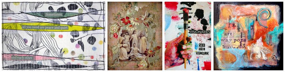 Details from the artwork of: JEAN TOMASO MOORE (1,3), JANE REEVES and KAREN PAQUETTE