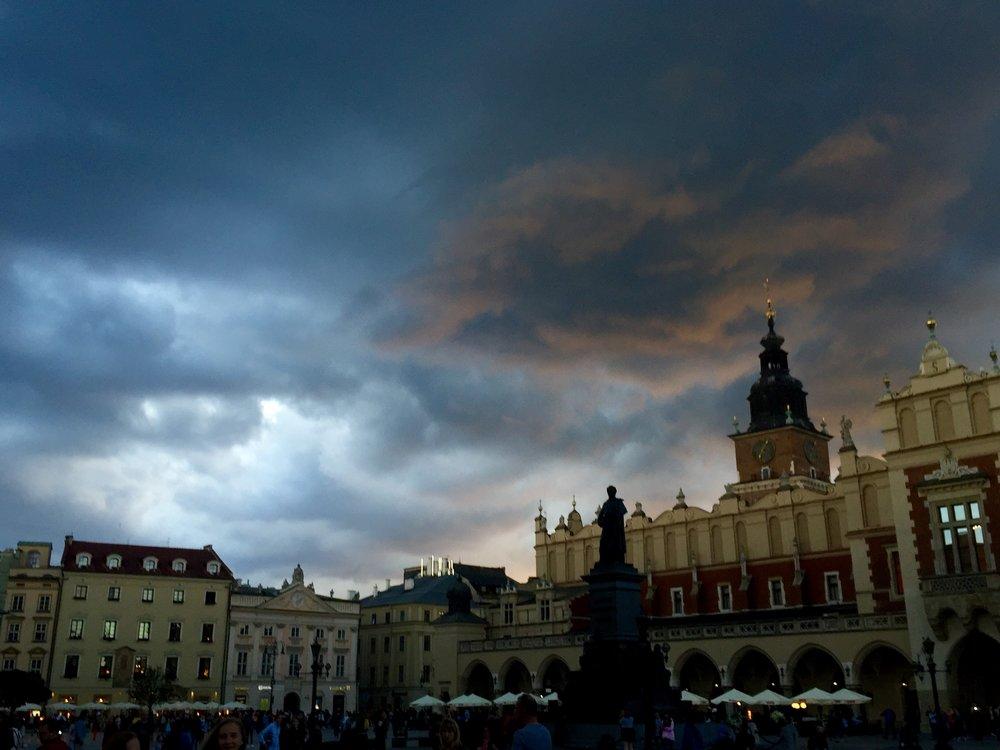 Main Market Square at sunset, Kraków