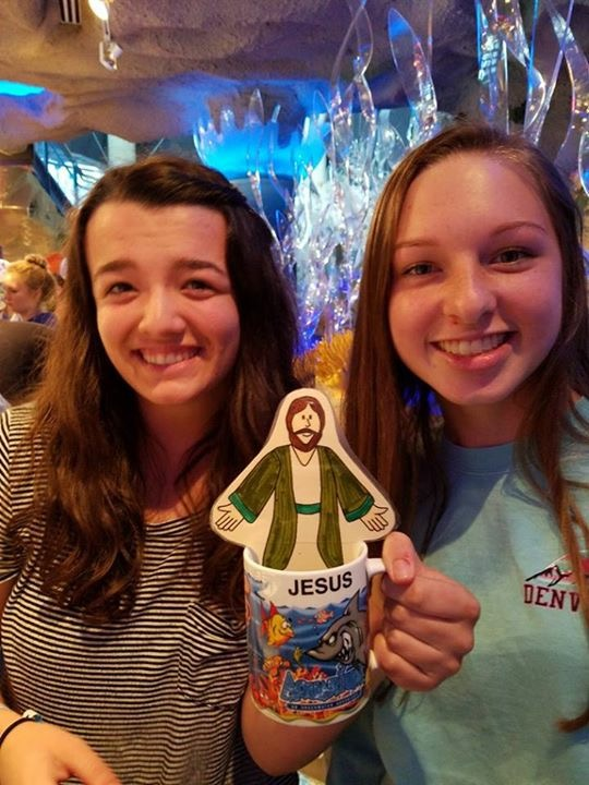 Flat Jesus goes with the youth on their mission trip to Denver, CO, summer 2017.