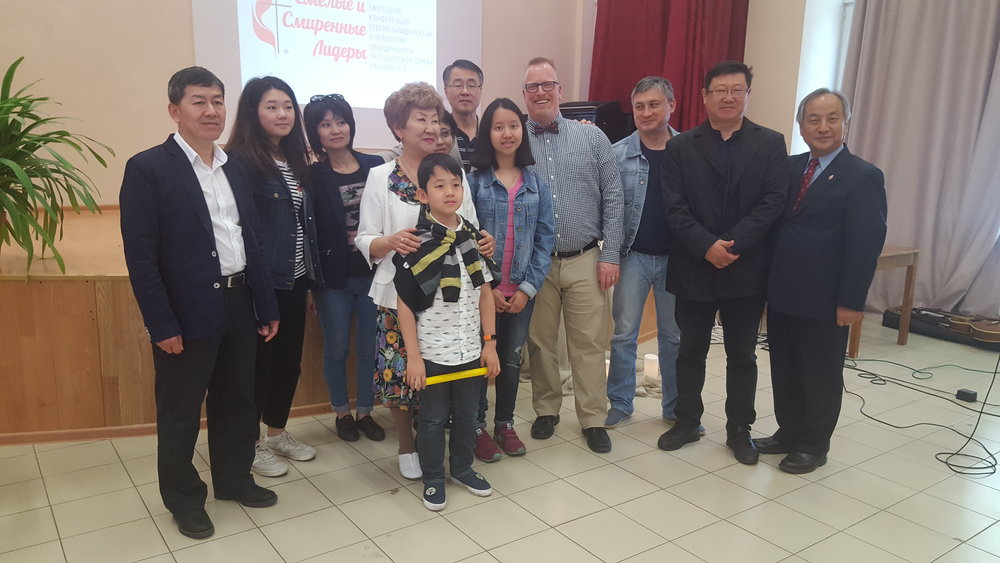 Members of our sister church with Pastor Jason and Bishop Jung in St. Petersburg, Russia
