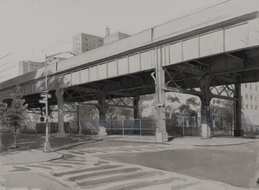 """Park Avenue  Acrylic 11""""x15"""""""
